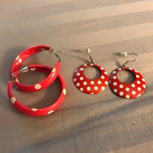 Carnation pink and white polka dot earrings!